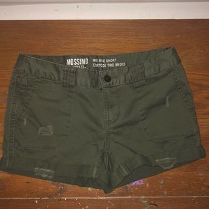 Pants - army green jean shorts